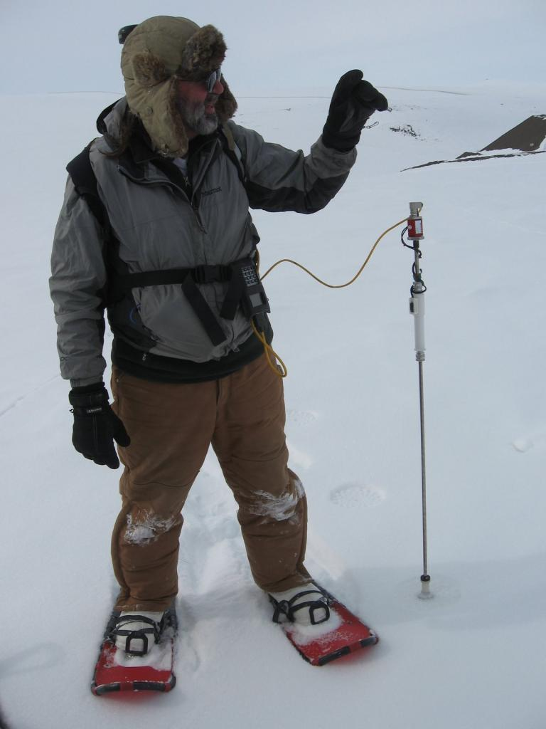 "Mark Serreze snowshoes en route to a personal best of 3001 probe points. Image courtesy  Andrew Slater, NSIDC. (<a href=""/cryosphere/gallery/photo/33679"">View photo detail.</a>) <br>"