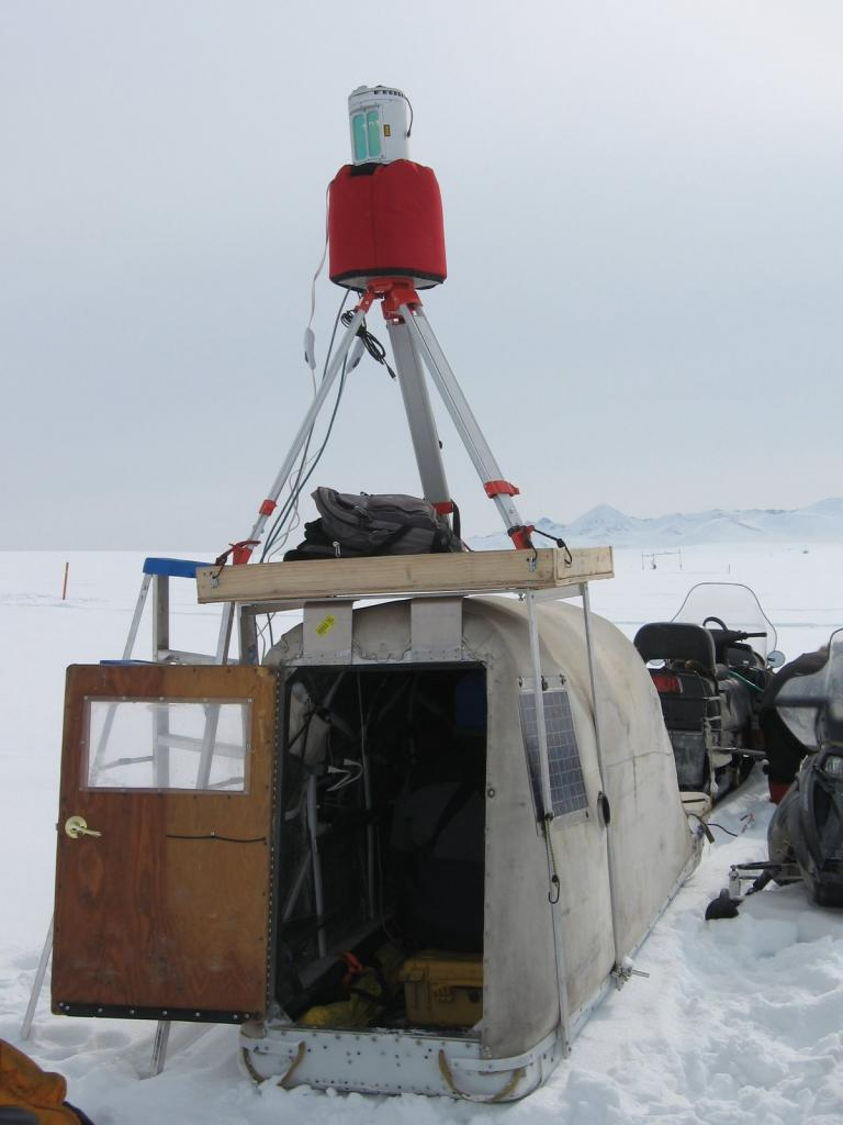 "This LIDAR rig was used during the 2009 SnowNet project. Image courtesy  Andrew Slater, NSIDC. (<a href=""/cryosphere/gallery/photo/33682"">View photo detail.</a>) <br>"