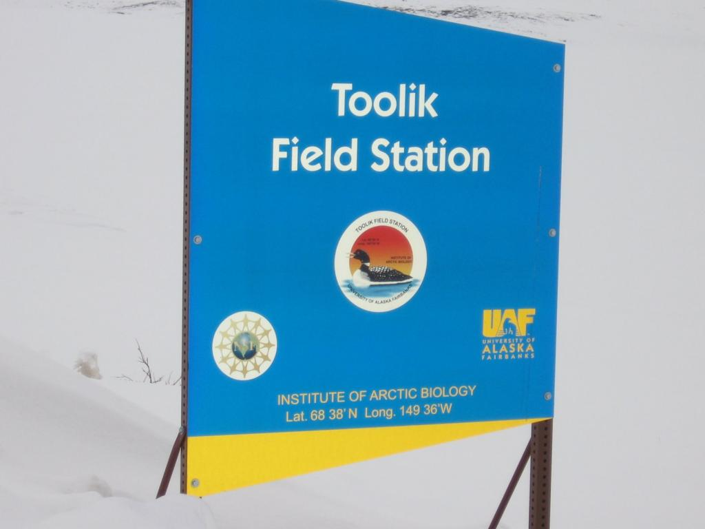 "Toolik Field Station is marked by this brighly colored sign. Image courtesy  Andrew Slater, NSIDC. (<a href=""/cryosphere/gallery/photo/33684"">View photo detail.</a>) <br>"