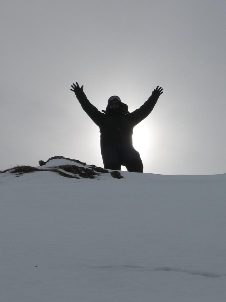 "Scientist rejoices at the top of Atigun Gorge. Image courtesy Andrew Slater, NSIDC. (<a href=""/cryosphere/gallery/photo/33698"">View photo detail.</a>) <br>"