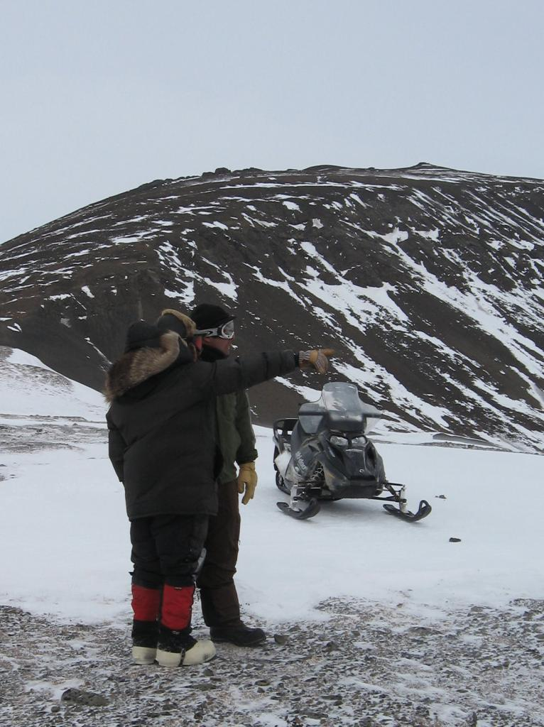 "Matthew Sturm and Christopher Hiemstra pose during the 2009 SnowNet project. Image courtesy Andrew Slater, NSIDC. (<a href=""/cryosphere/gallery/photo/33704"">View photo detail.</a>) <br>"