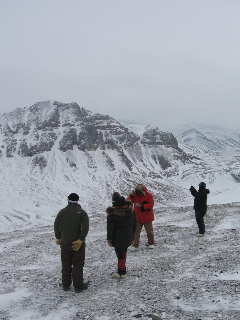 "A group of researchers take a hike during the 2009 SnowNet project, Alaska. Image courtesy Andrew Slater, NSIDC. (<a href=""/cryosphere/gallery/photo/33703"">View photo detail.</a>) <br>"