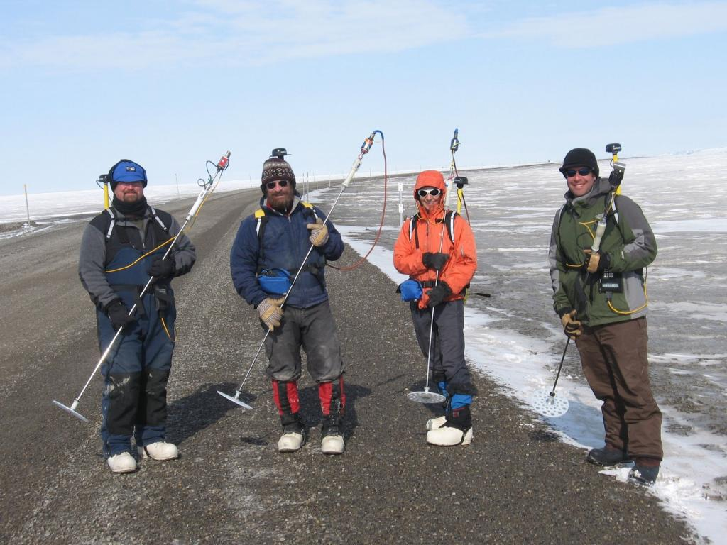 "Team Magna-Probe. From left to right: Art Gelvin - CRREL; Matthew Sturm - CRREL (Team Lead); Sveta Berezovskaya - WERC, Univ. Alaska @ Fairbanks (UAF); Christopher Hiemstra - CIRA, Colorado State Univ Image courtesy Andrew Slater, NSIDC. (<a href=""/cryosphere/gallery/photo/33711"">View photo detail.</a>) <br>"