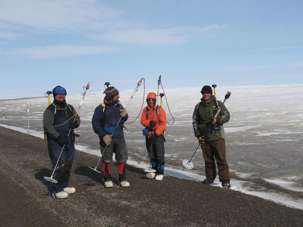 "From left to rightArt Gelvin - CRRELMatthew Sturm - CRREL (Team Lead)Sveta Berezovskaya - WERC, Univ. Alaska @ Fairbanks (UAF)Christopher Hiemstra - CIRA, Colorado State Univ Image courtesy Andrew Slater, NSIDC. (<a href=""/cryosphere/gallery/photo/33708"">View photo detail.</a>) <br>"