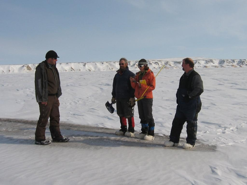 "From left to right: Christopher Hiemstra, Mark Serreze, Sveta Berezovskaya, and Art Gelvin Image courtesy Andrew Slater, NSIDC. (<a href=""/cryosphere/gallery/photo/33709"">View photo detail.</a>) <br>"