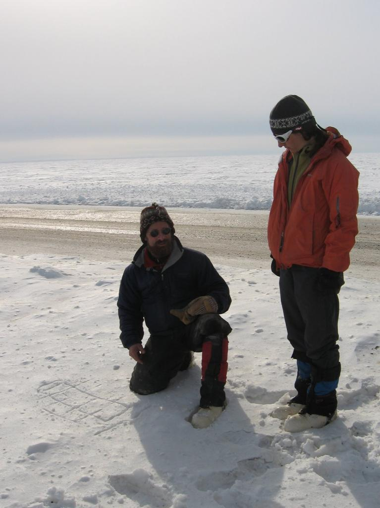 "Matthew and Sveta make a probe strategy. Image courtesy Andrew Slater, NSIDC. (<a href=""/cryosphere/gallery/photo/33713"">View photo detail.</a>) <br>"