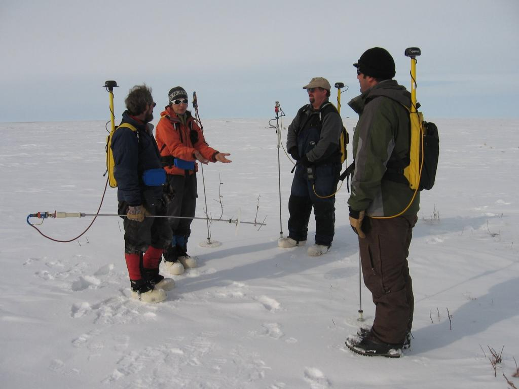 "From left to right: Matthew Sturm, Sveta Berezovskaya, Art Gelvin, and Christopher Hiemstra Image courtesy Andrew Slater, NSIDC. (<a href=""/cryosphere/gallery/photo/33712"">View photo detail.</a>) <br>"
