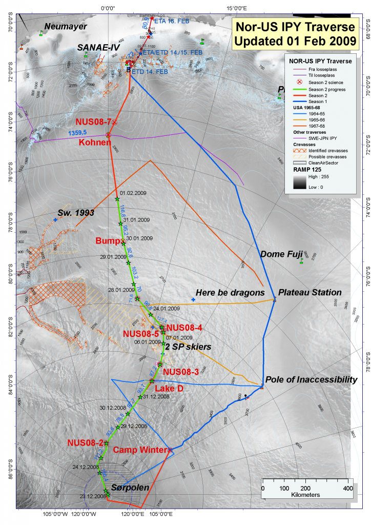"This map shows the route of the traverse. Image Credit:  Ted Scambos, NSIDC (<a href=""/cryosphere/gallery/photo/33909"">View photo detail.</a>) <br>"