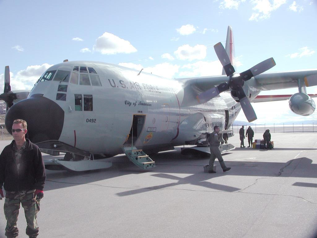 "The U.S. Air National Guard plane that I took from Albany, New York to Kangerlussuaq, Greenland: a 6.5 hour flight. The plane is called a C-130. Photo by John Maurer, CIRES/NSIDC, University of Colorado. (<a href=""/cryosphere/gallery/photo/33112"">View photo detail.</a>) <br>"