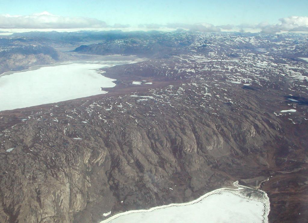 "A view out my window in the C-130 along the Western coast of Greenland. Photo by John Maurer, CIRES/NSIDC, University of Colorado. (<a href=""/cryosphere/gallery/photo/32881"">View photo detail.</a>) <br>"