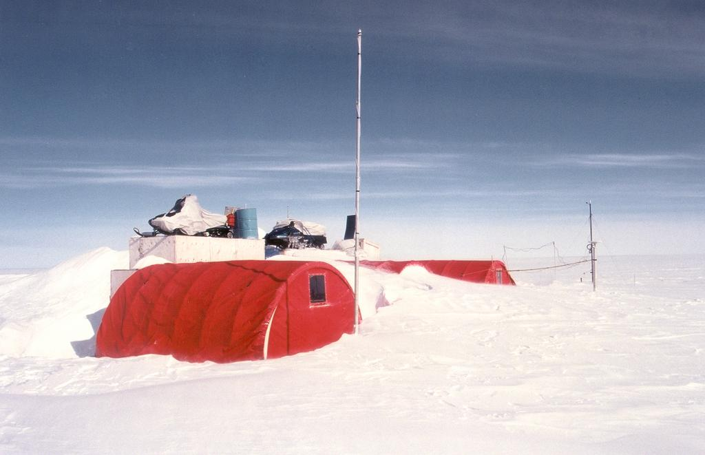"Swiss Camp as it appears when we first arrive. Photo by John Maurer, CIRES/NSIDC, University of Colorado. (<a href=""/cryosphere/gallery/photo/32975"">View photo detail.</a>) <br>"
