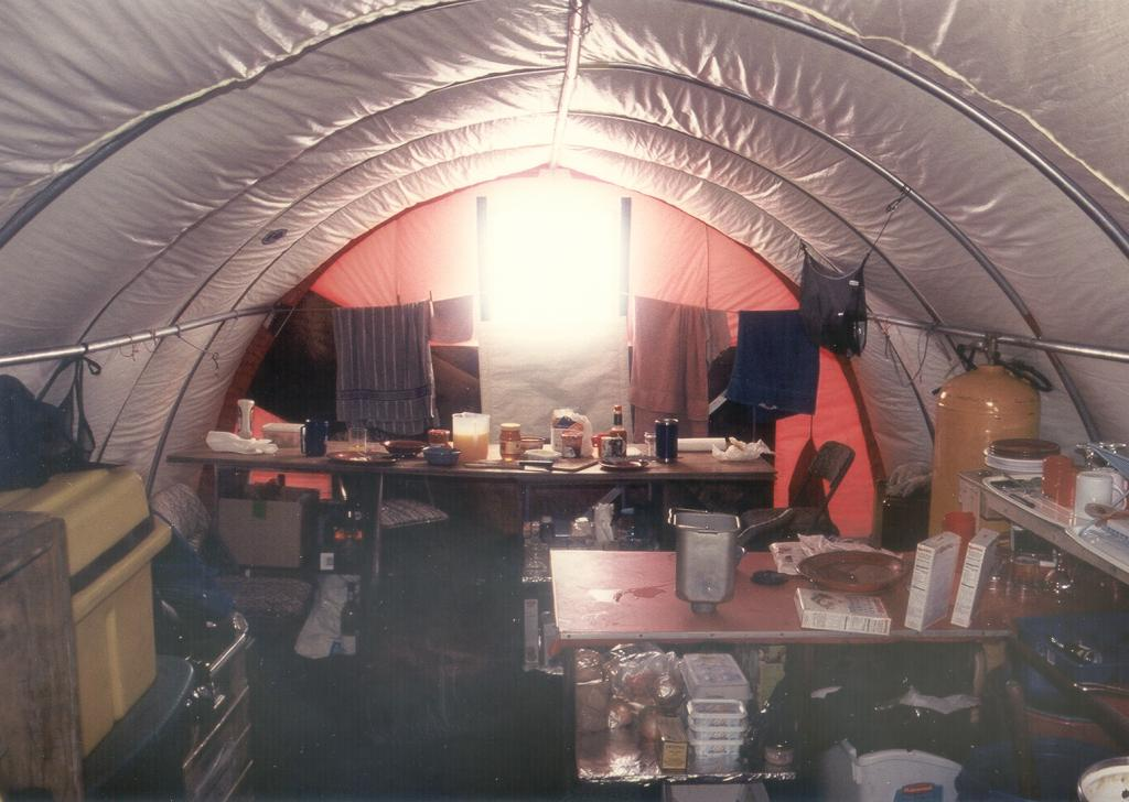 "Inside the kitchen tent. Photo by John Maurer, CIRES/NSIDC, University of Colorado. (<a href=""/cryosphere/gallery/photo/32976"">View photo detail.</a>) <br>"