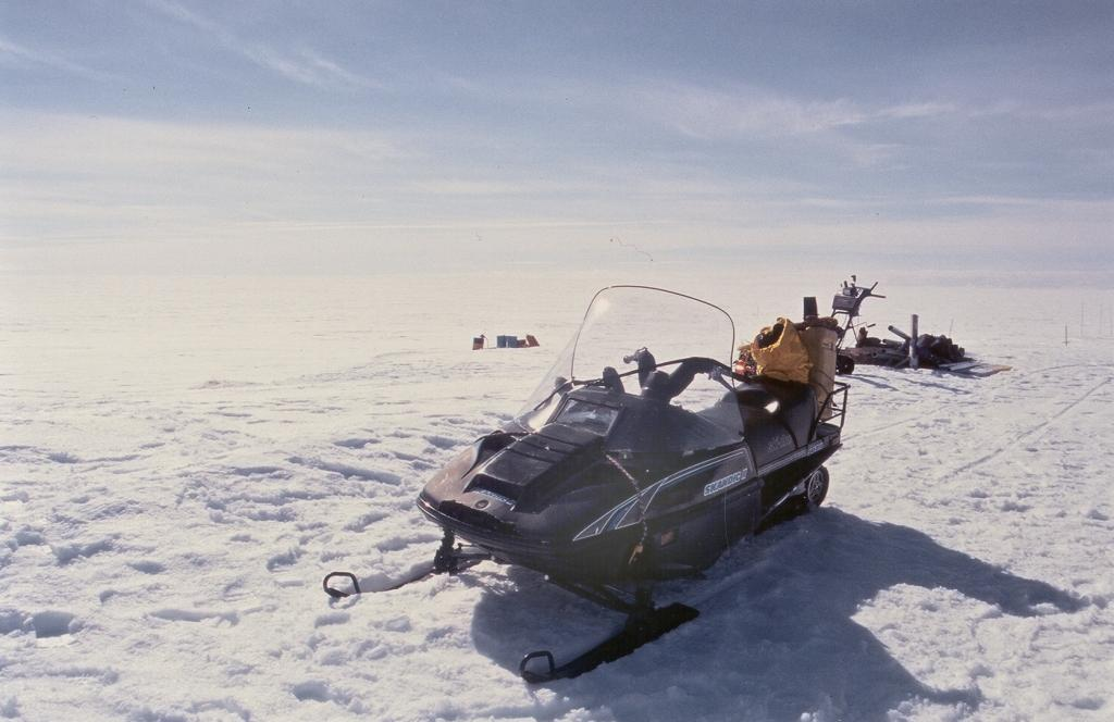 "One of our three snow-mobiles, which we called ""ski-doos"". Photo by John Maurer, CIRES/NSIDC, University of Colorado. (<a href=""/cryosphere/gallery/photo/33140"">View photo detail.</a>) <br>"