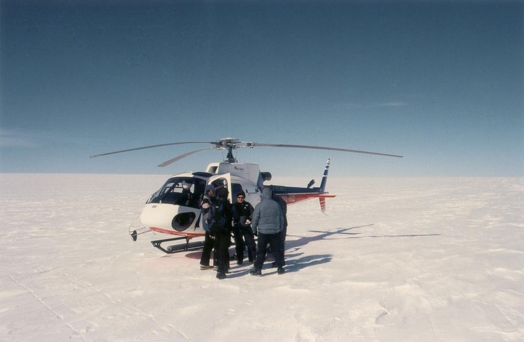 "We all went on a short helicopter ride from Swiss Camp down to the coast near Jakobshavn glacier. Jay Zwally in foreground. Photo by John Maurer, CIRES/NSIDC, University of Colorado. (<a href=""/cryosphere/gallery/photo/33141"">View photo detail.</a>) <br>"
