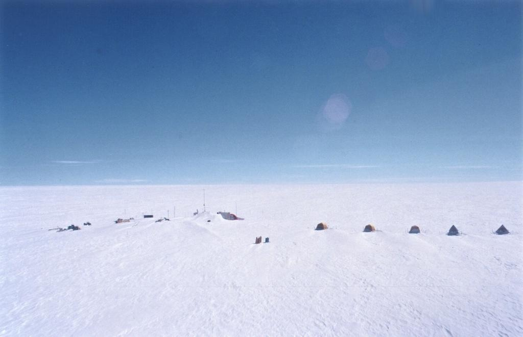 "View of Swiss Camp from the helicopter. Photo by John Maurer, CIRES/NSIDC, University of Colorado. (<a href=""/cryosphere/gallery/photo/33156"">View photo detail.</a>) <br>"