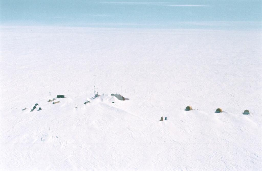 "View of Swiss Camp from the helicopter. Photo by John Maurer, CIRES/NSIDC, University of Colorado. (<a href=""/cryosphere/gallery/photo/33157"">View photo detail.</a>) <br>"