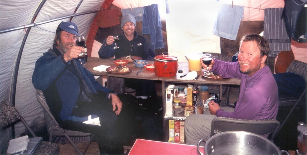 "Dinner and a glass of wine after a hard days' work! Cheers! Photo by John Maurer, CIRES/NSIDC, University of Colorado. (<a href=""/cryosphere/gallery/photo/33171"">View photo detail.</a>) <br>"