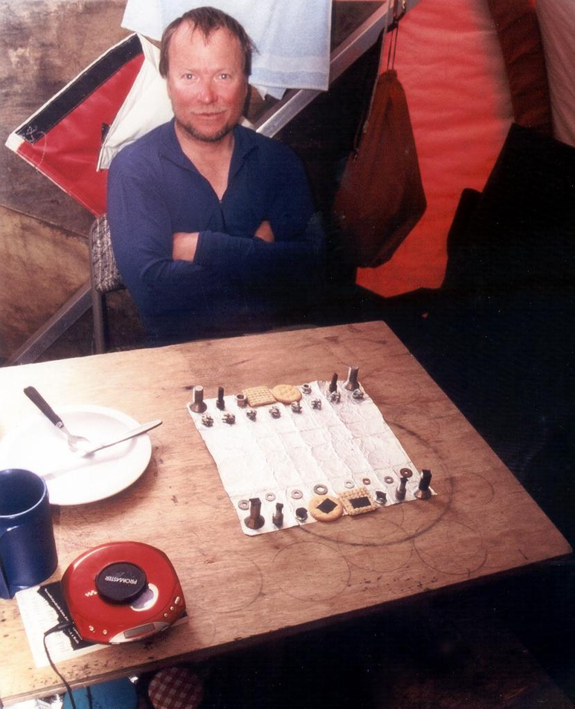 "A homemade chess set that Russ and I made from nuts, bolts, Triscuits, and Ritz crackers. Photo by John Maurer, CIRES/NSIDC, University of Colorado. (<a href=""/cryosphere/gallery/photo/33172"">View photo detail.</a>) <br>"