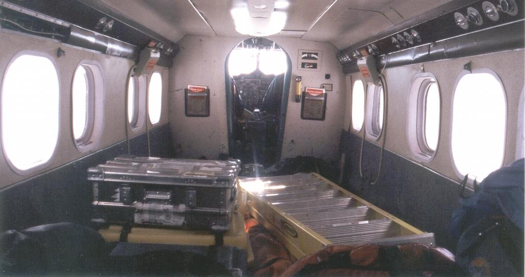 "Less cargo on this flight. View from the inside of the plane. Photo by John Maurer, CIRES/NSIDC, University of Colorado. (<a href=""/cryosphere/gallery/photo/33177"">View photo detail.</a>) <br>"