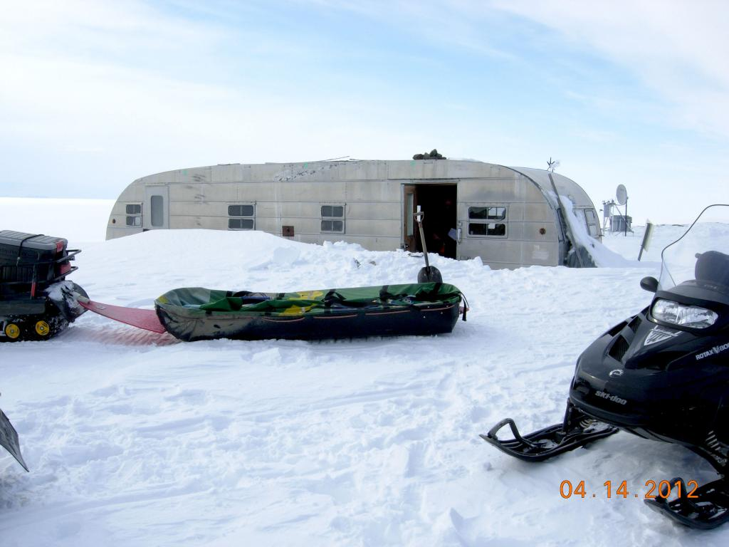 "A sled of equipment awaits the team outside the silver bullet shelter on the northern slope of Alaska during the 2012 SnowNet expedition. --Credit: NSIDC, Mark Serreze (<a href=""/cryosphere/gallery/photo/34034"">View photo detail.</a>) <br>"