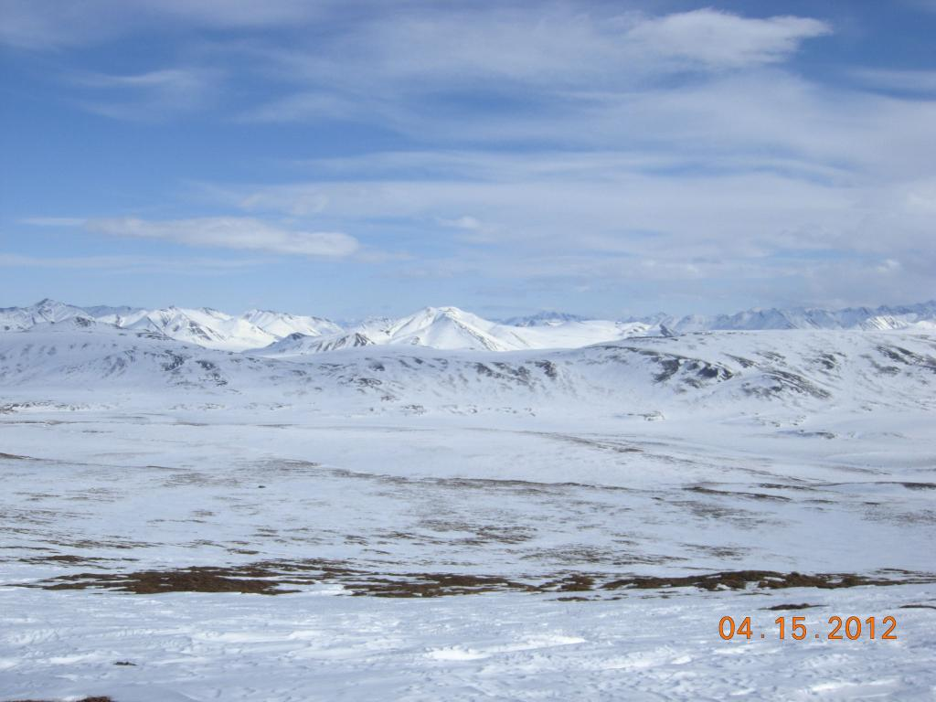 "A view of the Brooks mountain range on the northern slope of Alaska during the 2012 SnowNet expedition. --Credit: NSIDC, Mark Serreze (<a href=""/cryosphere/gallery/photo/34032"">View photo detail.</a>) <br>"