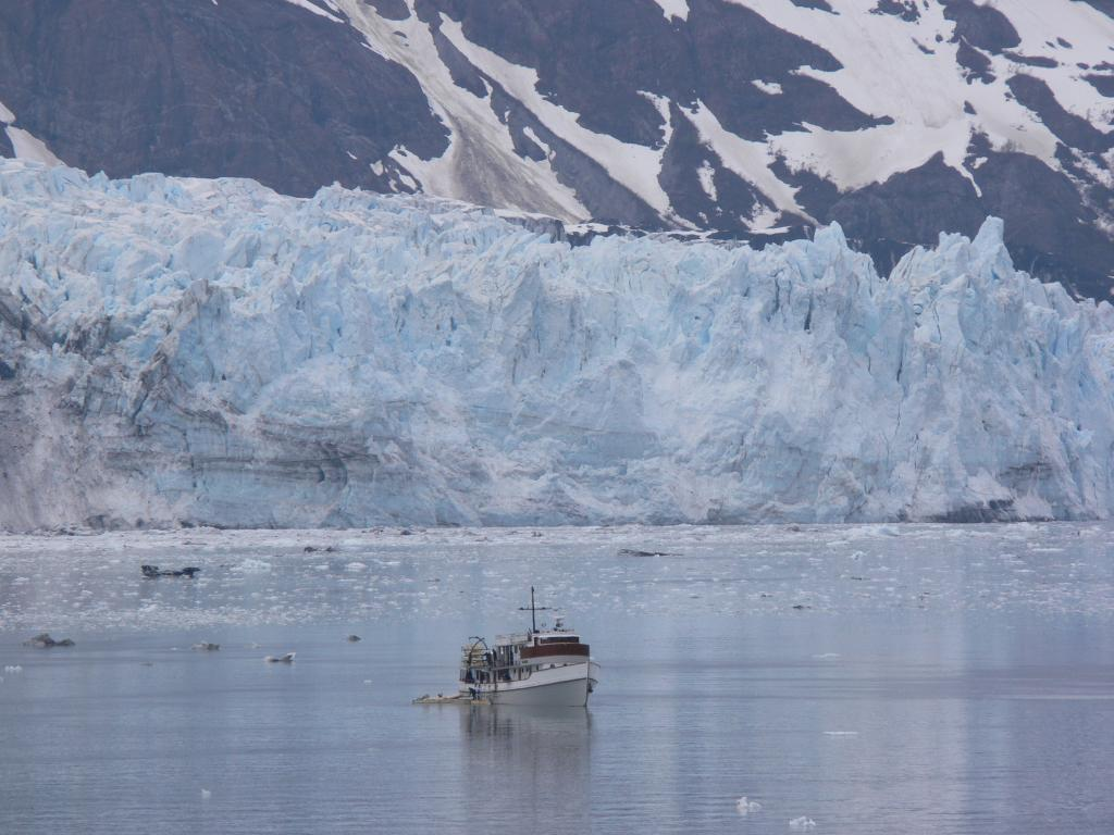"""Small"" ship in front of glacier in Glacier Bay. Glacier Bay National Park, AK. From ship. Image Credit:  Courtesy Lynn French, NSIDC (<a href=""/cryosphere/gallery/photo/33404"">View photo detail.</a>) <br>"