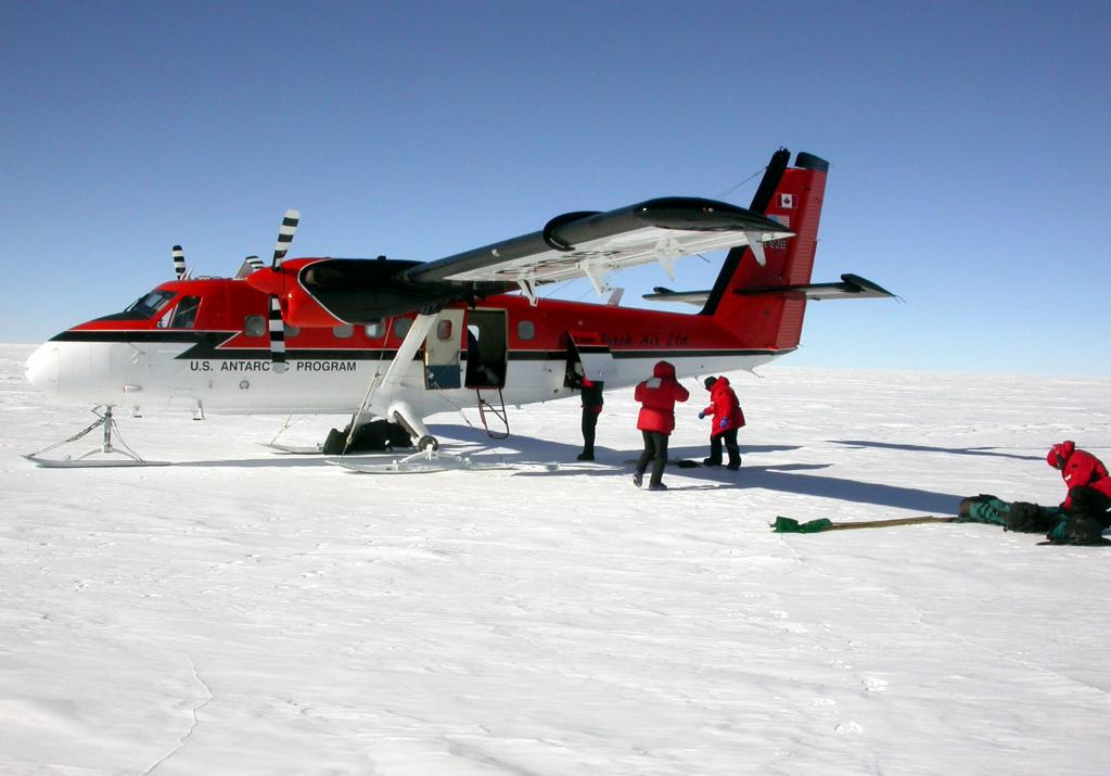"This plane flew the Megadunes crew during the first season of Megadunes in 2002 to 2003.Courtesy Ted Scambos and Rob Bauer, NSIDC <a href=""http://nsidc.org/antarctica/megadunes/"">Megadunes Web site</a> (<a href=""/cryosphere/gallery/photo/32880"">View photo detail.</a>) <br>"