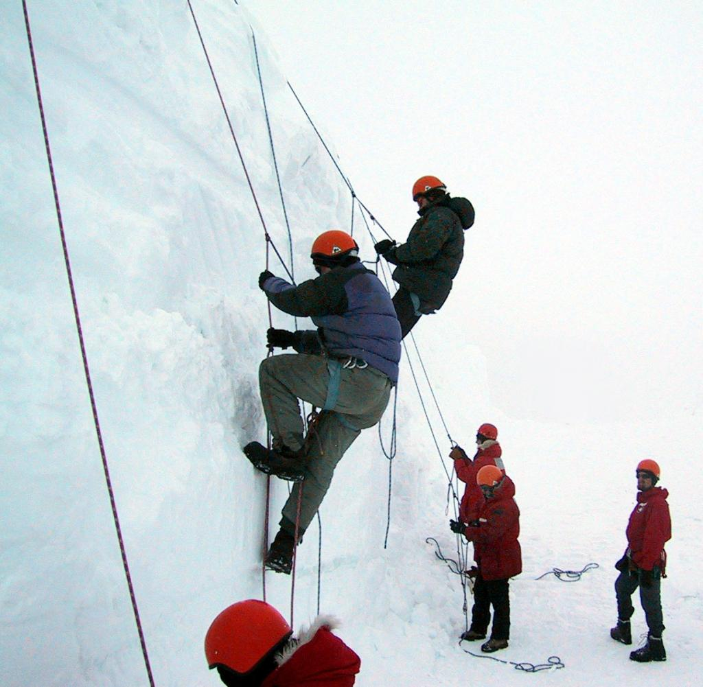"The Megadunes team underwent training in the Field Safety Training Program at McMurdo Station before relocating to the Megadunes site.  Here, the team completes their crevasse rescue training. Image Credit:  Courtesy Ted Scambos and Rob Bauer, NSIDC  <a href=""http://nsidc.org/antarctica/megadunes/"">Megadunes Web site</a> (<a href=""/cryosphere/gallery/photo/33032"">View photo detail.</a>) <br>"