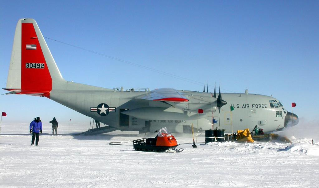 "This airplane provided to transport the Megadunes team to TAM camp. Image Credit:  Courtesy Ted Scambos and Rob Bauer, NSIDC  <a href=""http://nsidc.org/antarctica/megadunes/"">Megadunes Web site</a> (<a href=""/cryosphere/gallery/photo/33037"">View photo detail.</a>) <br>"