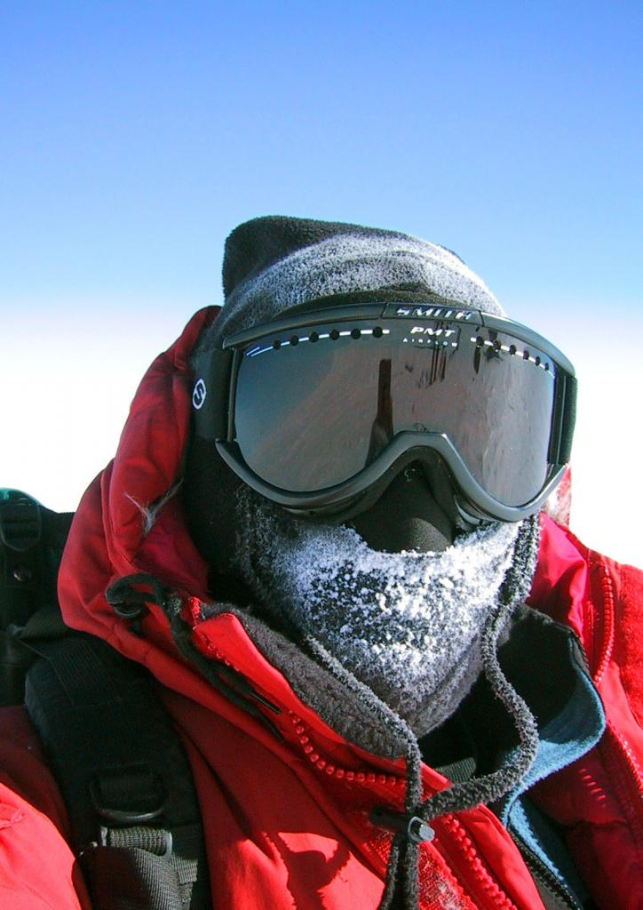 "Ted Scambos wears goggles and a balaclava to protect his face from the harsh Antarctic weather. Image Credit:  Courtesy Ted Scambos and Rob Bauer, NSIDC  <a href=""http://nsidc.org/antarctica/megadunes/"">Megadunes Web site</a> (<a href=""/cryosphere/gallery/photo/33033"">View photo detail.</a>) <br>"