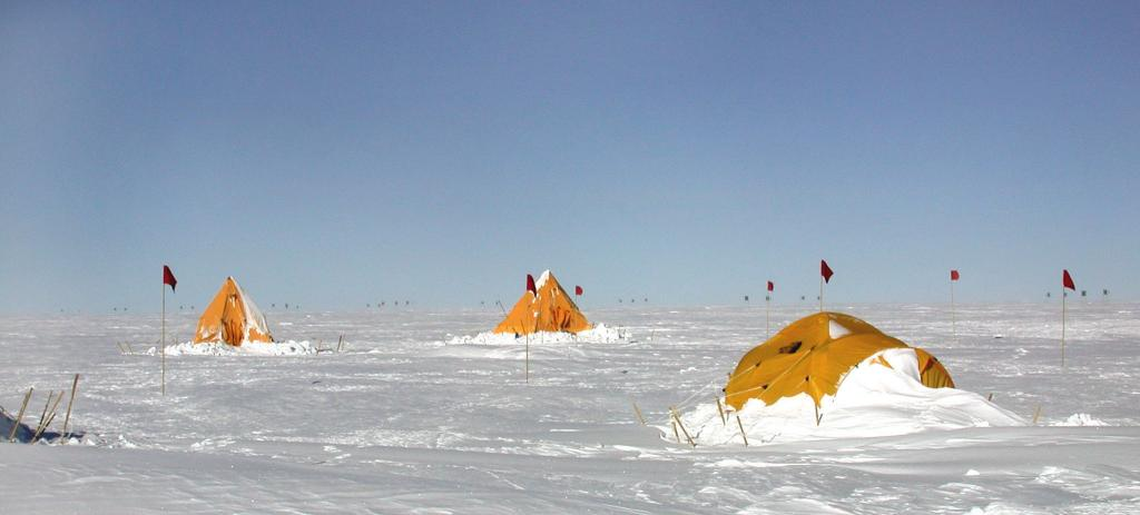 "Drifts of snow covered the Megadunes team's Scott tents. Image Credit:  Courtesy Ted Scambos and Rob Bauer, NSIDC  <a href=""http://nsidc.org/antarctica/megadunes/"">Megadunes Web site</a> (<a href=""/cryosphere/gallery/photo/33054"">View photo detail.</a>) <br>"
