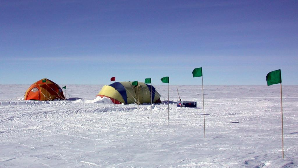 "The Megadunes team set up Scott and Endurance tents near TAM camp. Image Credit:  Courtesy Ted Scambos and Rob Bauer, NSIDC  <a href=""http://nsidc.org/antarctica/megadunes/"">Megadunes Web site</a> (<a href=""/cryosphere/gallery/photo/32970"">View photo detail.</a>) <br>"