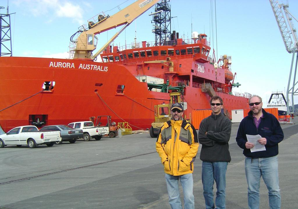 "From left: Terry Haran, Thorsten Markus, and Rob Massom, anticipating their departure on the Aurora Australis from Hobart, Australia. Photo Credit: Courtesy Ted Scambos, NSIDC (<a href=""/cryosphere/gallery/photo/33185"">View photo detail.</a>) <br>"