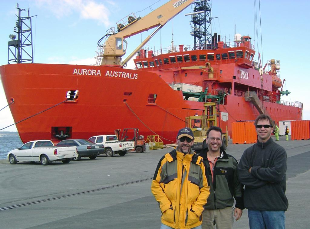 "From left: Terry Haran, Ted Scambos, and Thorsten Markus, anticipating their departure on the Aurora Australis from Hobart, Australia. Photo Credit: Courtesy Ted Scambos, NSIDC (<a href=""/cryosphere/gallery/photo/33186"">View photo detail.</a>) <br>"