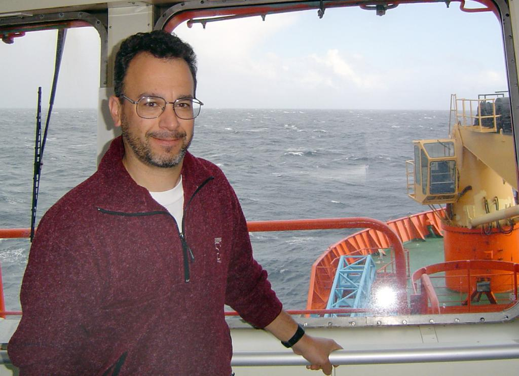 "Ted Scambos on the bride of the Aurora Australis. Photo Credit: Courtesy Ted Scambos, NSIDC (<a href=""/cryosphere/gallery/photo/33195"">View photo detail.</a>) <br>"