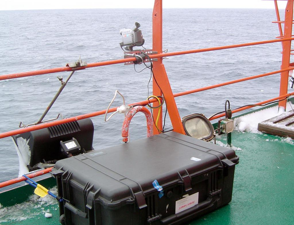 "Part of the Heitronics KT-19.82 thermal radiometer, mounted to the port side rail of the Aurora Australis, to measure the skin temperature of the sea ice. Photo Credit: Courtesy Ted Scambos, NSIDC (<a href=""/cryosphere/gallery/photo/33194"">View photo detail.</a>) <br>"