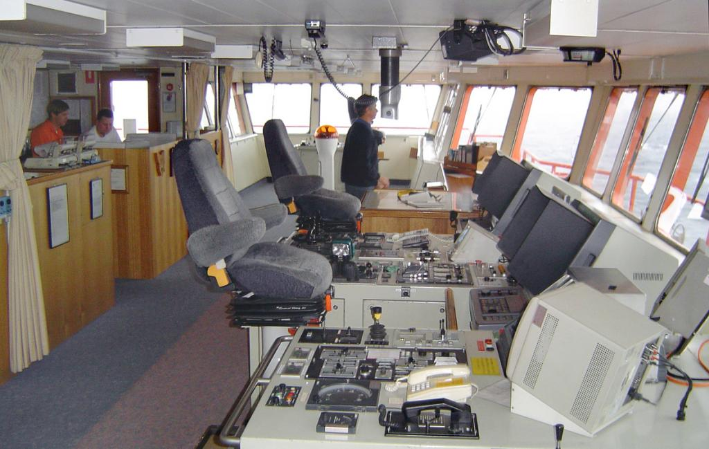 "While on board the Aurora Australis, some of the team ventured onto the bridge of the icebreaker.  This is what the bridge looked like. Photo Credit: Courtesy Ted Scambos, NSIDC (<a href=""/cryosphere/gallery/photo/33108"">View photo detail.</a>) <br>"