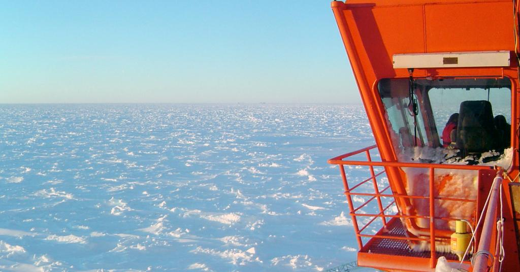 "A view stretching out over the Antarctica sea ice from the bridge. Courtesy Ted Scambos, NSIDC (<a href=""/cryosphere/gallery/photo/33204"">View photo detail.</a>) <br>"