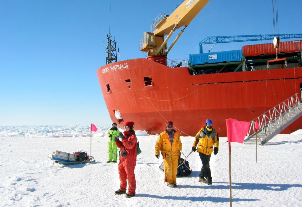 "The team is ready to embark out onto the sea ice for a day of field work. Photo Credit: Courtesy Ted Scambos, NSIDC (<a href=""/cryosphere/gallery/photo/33215"">View photo detail.</a>) <br>"