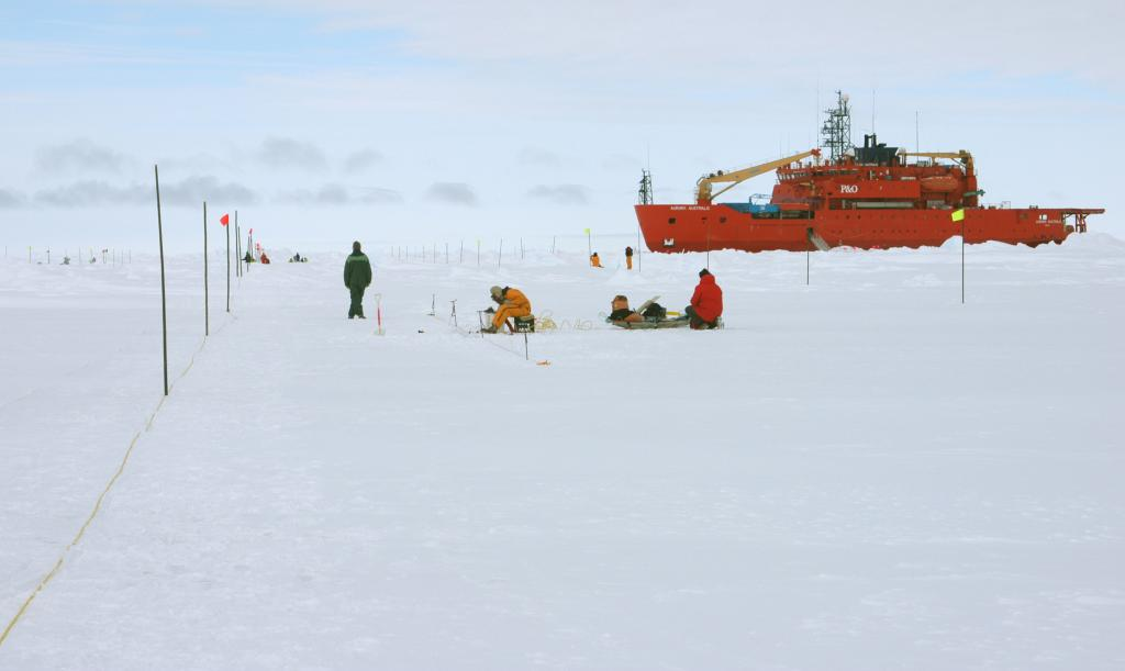 "One of the teams aboard the Aurora Australis doing field-work nearby the icebreaker. Photo Credit: NSIDC Courtesy Rodney Charles (<a href=""/cryosphere/gallery/photo/33228"">View photo detail.</a>) <br>"