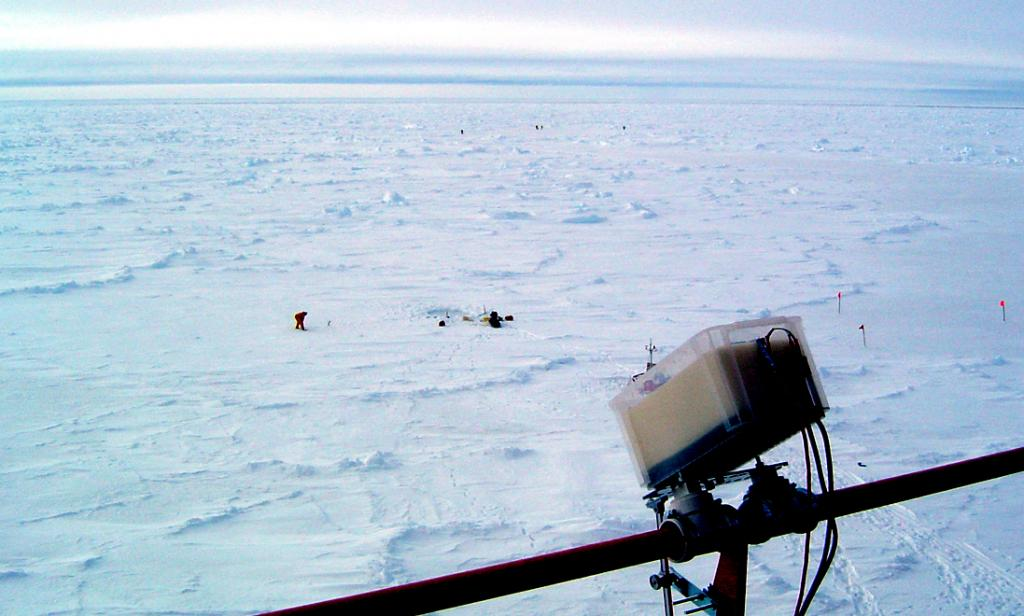 "The Heitronics KT-19.82 thermal radiometer, mounted to the port side rail of the Aurora Australis, to measure the skin temperature of the sea ice. Photo Credit: Courtesy Ted Scambos, NSIDC (<a href=""/cryosphere/gallery/photo/33231"">View photo detail.</a>) <br>"
