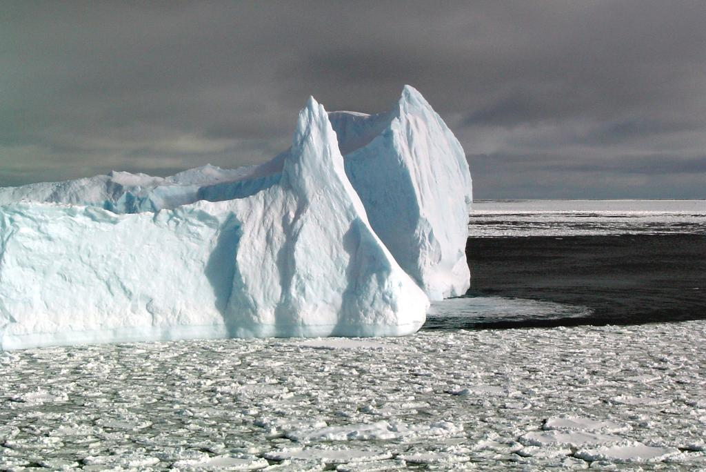 "While navigating the Ross Sea, the team came across this unusual cluster of icebergs and pancake ice.  This is one of several photos taken. Photo Credit: Courtesy Ted Scambos, NSIDC (<a href=""/cryosphere/gallery/photo/33229"">View photo detail.</a>) <br>"