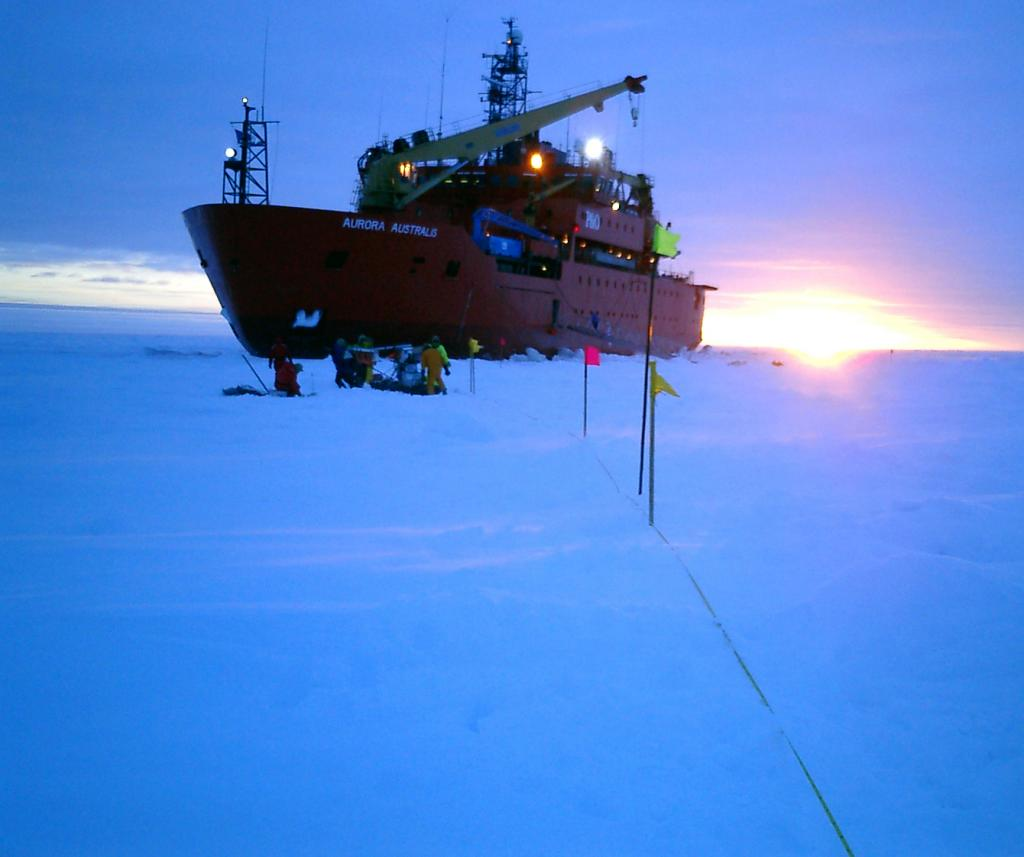 "The research teams often worked through the day and into the night, by the aid of the icebreaker's flood lamps. Photo Credit: NSIDC Courtesy Anthony Petty (<a href=""/cryosphere/gallery/photo/33236"">View photo detail.</a>) <br>"