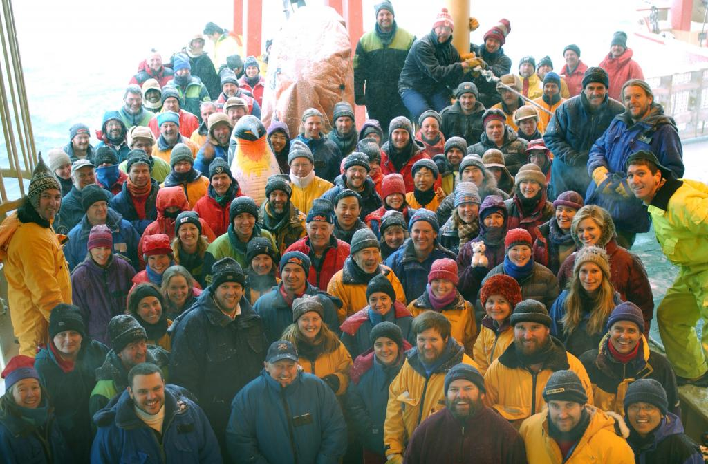"The crew from the Aurora Australis. Photo Credit: Courtesy Ted Scambos, NSIDC (<a href=""/cryosphere/gallery/photo/33271"">View photo detail.</a>) <br>"