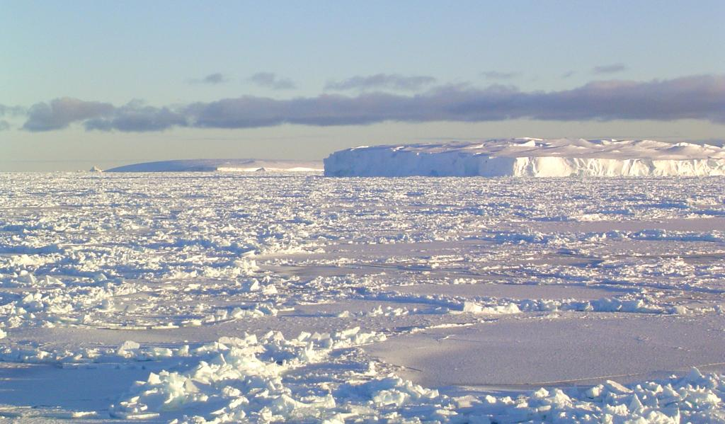 "While traversing the Ross Sea, the team saw Pennel Bank, shown here. Photo Credit: Courtesy Ted Scambos, NSIDC (<a href=""/cryosphere/gallery/photo/33268"">View photo detail.</a>) <br>"