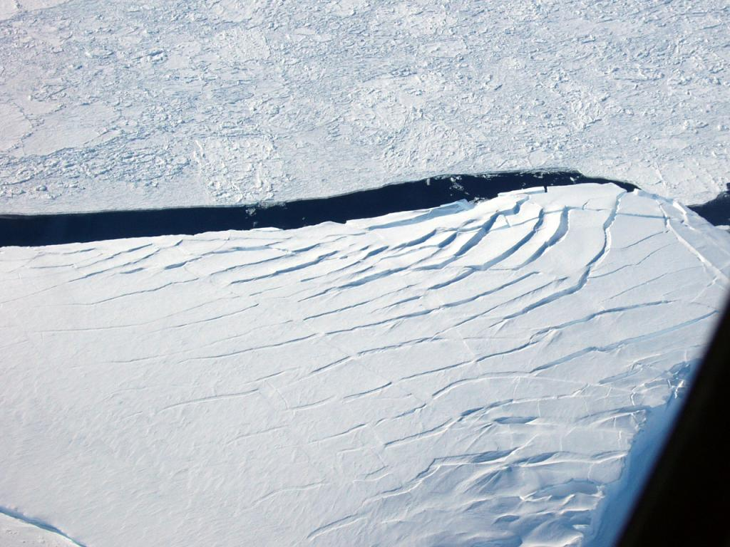 "An aerial view of smooth snow-covered sea ice, with fracturing on the surface. Photo Credit: NSIDC Courtesy Alice O'Connor (<a href=""/cryosphere/gallery/photo/33274"">View photo detail.</a>) <br>"