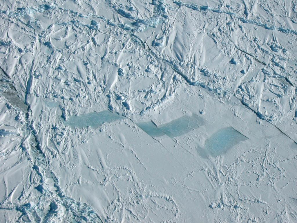 "An aerial view of smooth snow-covered sea ice, particularly noting the sastrugi on the surface. Photo Credit: NSIDC Courtesy Alice O'Connor (<a href=""/cryosphere/gallery/photo/33278"">View photo detail.</a>) <br>"