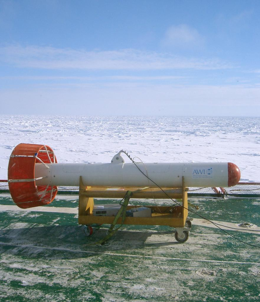 "AWI's self-developed Helicopter EM Sensor, seated on its suspension rack. Photo Credit: NSIDC Courtesy Andi Pfaffling (<a href=""/cryosphere/gallery/photo/33288"">View photo detail.</a>) <br>"