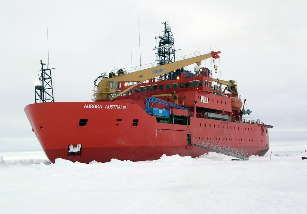 "The icebreaker Aurora Australis is patiently awaiting the return of the scientific teams and their equipment.  Several stops similar to the one shown here were made along the expedition. Photo Credit: NSIDC Courtesy Rachel Marsh (<a href=""/cryosphere/gallery/photo/33286"">View photo detail.</a>) <br>"