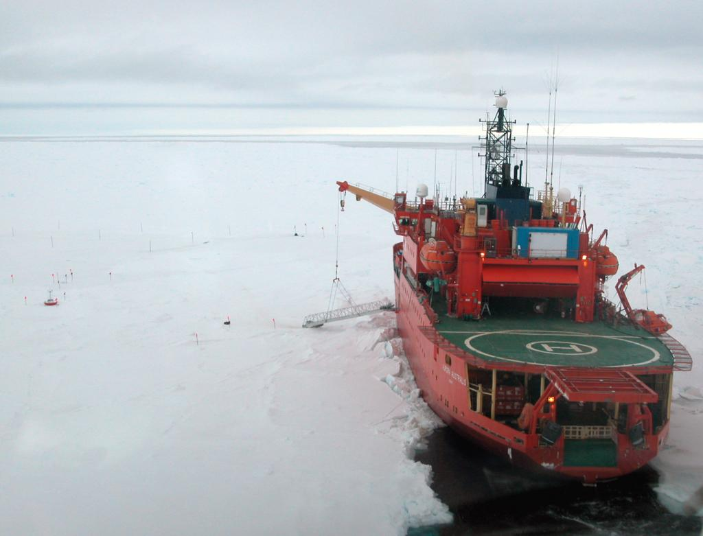 "The Aurora Australis at a stand-still while the crew spends the day in the field. Photo Credit: Courtesy Ted Scambos, NSIDC (<a href=""/cryosphere/gallery/photo/33287"">View photo detail.</a>) <br>"